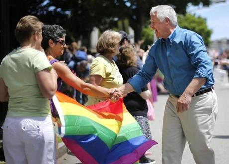 Maine gubernatorial candidate Mike Michaud greeted spectators at the parade.