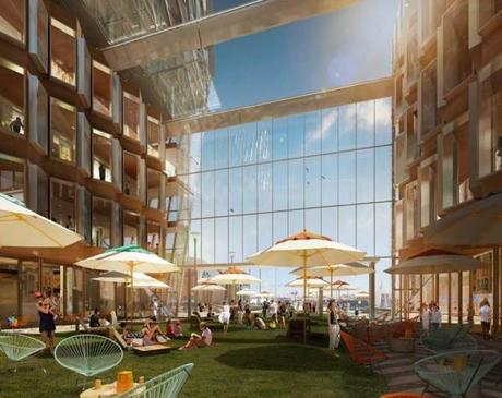 Central Open Space concept in Summer. Renderings of the new towers developer Don Chiafaro is proposing for the site of the Harbor parking garage on the Boston waterfront next to the Greenway. (Kohn Pedersen Fox Associates)