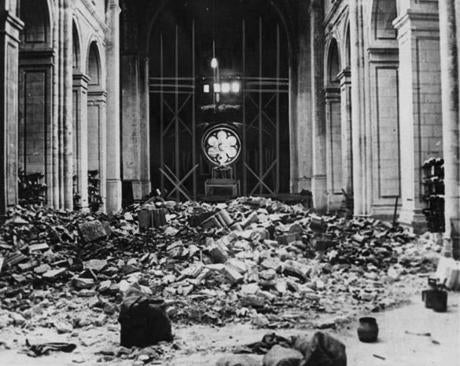 The interior of the Cathedral at Verdun, France, was destroyed after a battle in 1917.