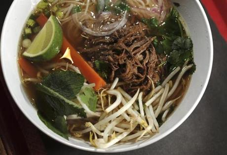 Pho noodle soup with slow-braised beef.