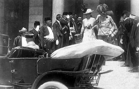 Archduke Franz Ferdinand and his wife, Sophie, walked to a car in Sarajevo on June 28, 1914, minutes before they were assassinated.
