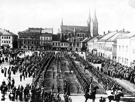 The 98th Austro-Hungarian Infantry Regiment paraded in eastern Bohemia before leaving for the front at the beginning of the war.