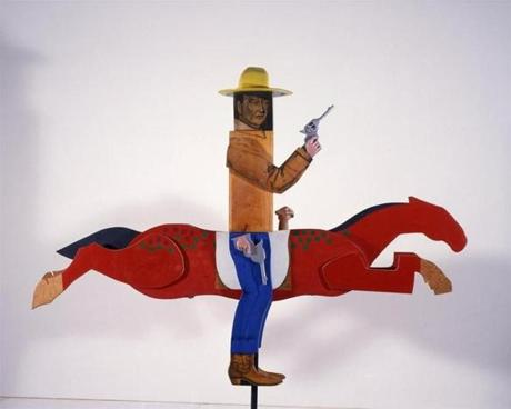 Mephis Brooks Museum of Arts Marisol, American (born France, 1930) John Wayne, 1963 Wood, pencil, oil, paint, plaster, and steel Object: 104 � 96 � 15 inches (264.2 � 243.9 � 38.1 cm); Installed: 113 � 96 � 15 inches (287 � 243.9 � 38.1 cm) Courtesy of the Colorado Springs Fine Arts Center. Julianne Kemper Gilliam Purchase Fund, Debutante Ball Purchase Fund, FA 1978.5 © Marisol Escobar / Licensed by VAGA, New York 06marisol