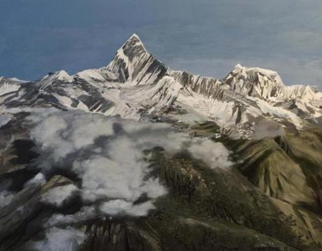 "Richard Estes's painting ""Machapuchare."""