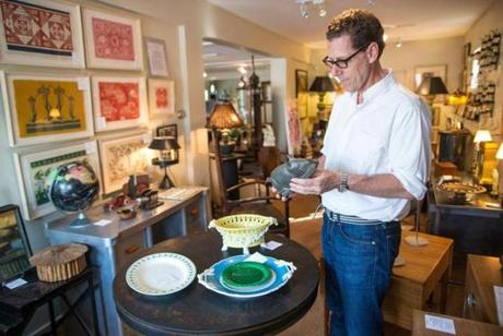 Andrew Spindler at his antiques shop in Essex.