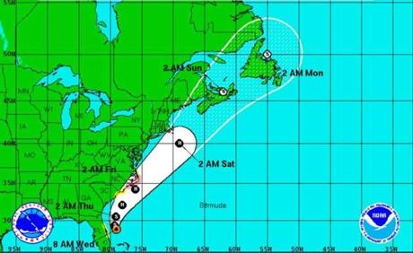 A NOAA map of the storm's current track.