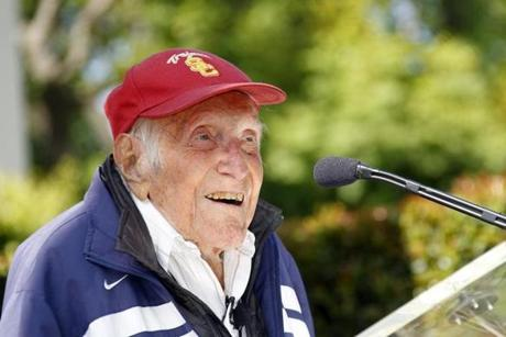 Zamperini spoke at a news conference in May.