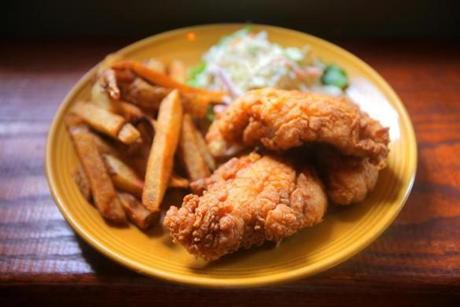 Fish and chips with slaw.