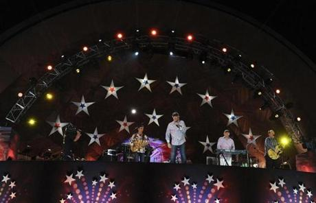 The Beach Boys joined the Boston Pops on stage.