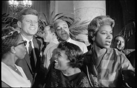 John F. Kennedy is surrounded by convention attendees in Garry Winogrand's photo from the 1960 Democratic National Convention in Los Angeles.