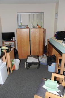 A photo of Dzhokhar Tsarnaev's dorm room was presented as evidence at the trial on Tuesday.
