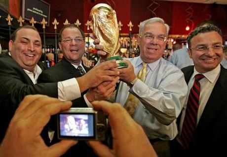 Restaurateur Nick Varano (from left), then-Senate President Robert E. Travaglini, then-Mayor Thomas M. Menino, and City Councilor Sal LaMattina participated in World Cup celebrations in the North End.