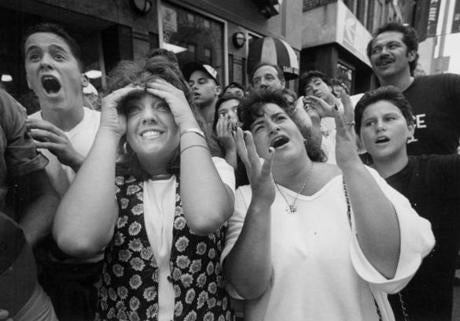 The crowd in the North End watched Italy face off against Brazil in the 1994 World Cup.