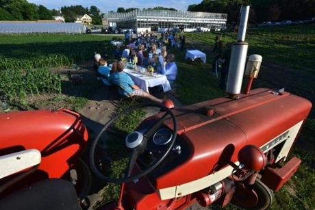 Diners enjoyed an outdoor farm dinner at Volante Farms in Needham.