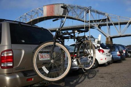 Bikes with the Sagamore Bridge in the background.