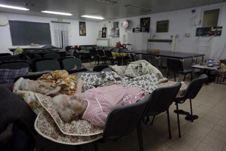 Elderly women slept in a bomb shelter in Beersheba, Israel.