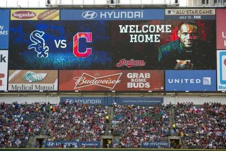 The Cleveland Indians show their support for LeBron James with a welcome home message on the scoreboard at Progressive Field on Friday.