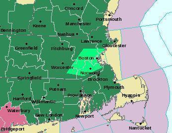 The area in bright green is under a flood advisory.