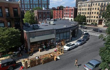 A parklet is being built near 506 Park Drive.