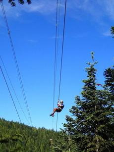 A guide flies down a line during a Ziptrek tour.