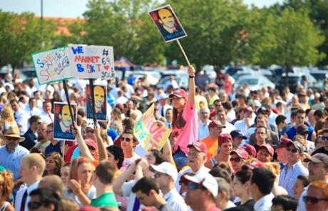 Thousands of workers at Market Basket grocery stores throughout the region poured in for a rally in Tewksbury on Monday.