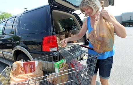 Deirdre O'Connor, of Lowell, normally a Market Basket shopper, had to visit the Hannaford across the street.