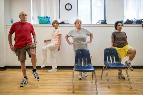 From left: Harold Kams 72, Electra Theodore 83, Bobbi Starr 80, and Pushpa Lele 74, participated in a senior fitness class at the MetroWest YMCA in Framingham.