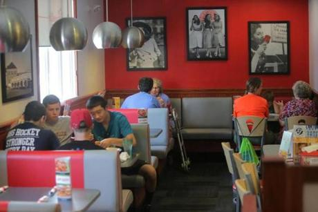 Customers were positive about  changes at the Watertown Friendly's, which was recently remodeled with retro diner-style interiors in a red, white, gray, and black color scheme.