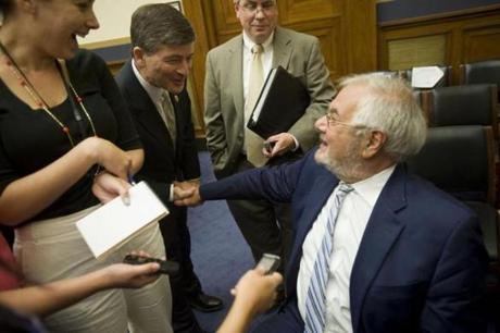 Barney Frank had an amiable moment with Representative Jeb Hensarling, the Republican from Texas who now chairs the House Financial Services Committee.