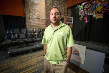 07/22/2014 BOSTON, MA Executive Director Greg Jutkiewicz (cq) poses for a portrait at The Piano Factory Theatre (cq) in Boston. (Aram Boghosian for The Boston Globe)