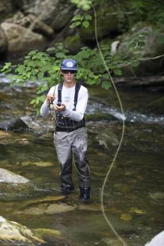 "'It's a huge adrenaline rush,"" Chioffi said of fly fishing."