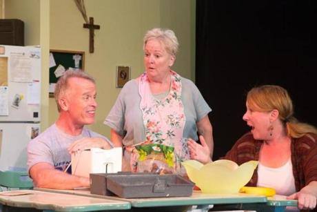 "From left: Conan McCarty, Peggy Cosgrave, and Brandy Zarle in ""Miracle on South Division Street."" Both plays are presented in repertory by White Heron Theatre Company."