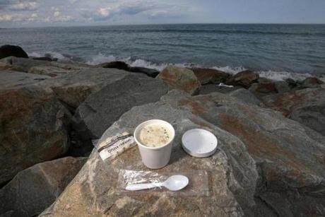 Takeout cup of chowder from Schooners Restaurant in Hull. The view is free.