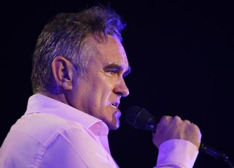 "British rock singer Morrissey, the former front man of the alternative rock group The Smiths, sings during his concert in Manila, Philippines on Sunday May 13, 2012. Morrissey recently sent a letter on behalf of Manila-based People for the Ethical Treatment of Animals (PETA) Asia to Philippine President Benigno Aquino III urging him to send Vishwamali (""Mali"" for short), a lone Asian elephant at the Manila Zoo, to a sanctuary. (AP Photo/Aaron Favila) -- -- 03thingtank"