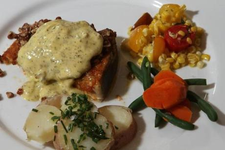 The roasted Swordfish with bearnaise sauce and pecan butter.