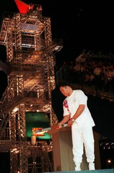 Muhammad Ali, ex-heavyweight boxing star and Olympic medalist, lit the Olympic torch in 1996.