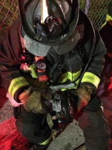 Firefighter Tom Sylvester assisted one of the cats.