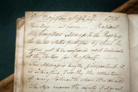 This part of the diary concerns George Washington's decision to step down as president.