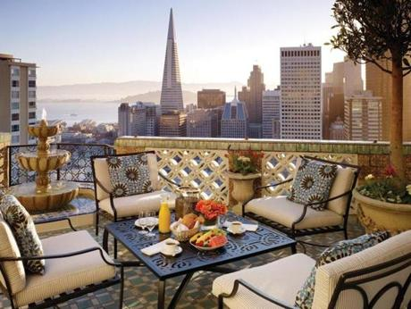 At the world-famous luxury Fairmont San Francisco, a deck looks out over the city and to the bay.