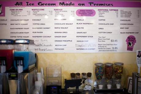 8/8/14 Millis, Mass. Many flavors of ice cream and milkshakes are displayed on the menu board at Black Cow Ice Cream on Friday afternoon, August 8, 2014 in Millis, Mass. (Zack Wittman for the Boston Globe)