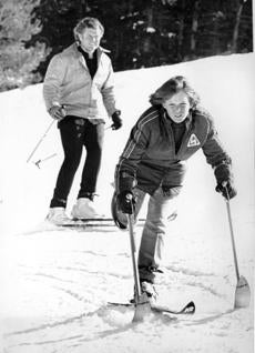 Ted Kennedy Jr. with his father during a skiing trip in Colorado.