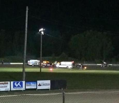 Ambulances on the scene at Canandaigua Motorsports Park on Saturday after the crash.