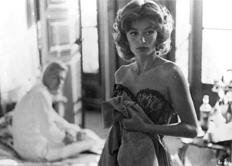 "MOVIES: ANOUK AIMEE in Lola in the 1961 film ""Lola,"" directed by Jacques Demy. PHOTO CREDIT -- Raymond Cauchetier/Cine-Tamaris --Original IPTC Information: Caption: Changed from no prior entry. for Leighton Klein. 16MICHEL. Library Tag 05162004 Arts & Entertainment 17demy"