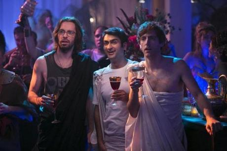 "This photo released by HBO shows, from left, Martin Starr, Kumail Nanjiani, and Thomas Middleditch, in a scene from the television series, ""Silicon Valley,"" episode 4. With the final episode looming on Sunday, June 1, 2014, �Silicon Valley� has been upped for a second season, good news for local techies who tweet, blog, chat and gather to tune in en masse to watch five of their doppelgangers awkwardly talk to women, seek venture capital and try to launch a startup called Pied Piper, which even has its own mock website. (AP Photo/HBO, Jaimie Trueblood) -- 24Emmy"