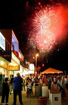 A fireworks display exploded over Salisbury Beach Center.