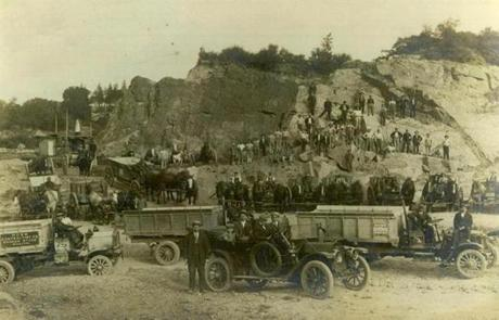 Undated photo / fromthearchive / Boston Globe Archive photo / Turn of the century picture of a Brighton quarry, one of many run by the Rowe family They closed their last quarry in 2002 after operating for 95 years.
