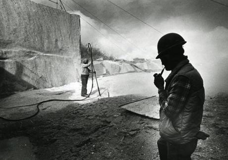 October 27 1985 / fromthearchive / Globe Staff photo by Bill Greene / Clarence Sawyer watched Richard Neville burn through granite at the quarry at Crotch Island, Maine. The quarry had just reopened after being closed since 1969. The first quarry opened on Crotch Island in 1869 and at the turn-of-the-century Maine was the number 1 supplier of building granite. The quarry supplied the granite for President John F. Kennedy's gravesite at Arlington National Cemetery.