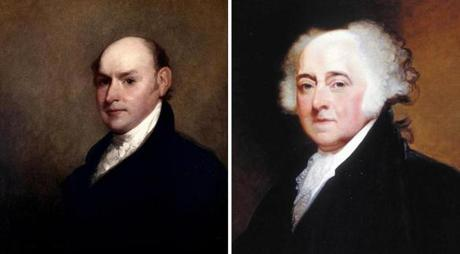 John Quincy Adams (left) worked more than a decade on a biography about his father, John Adams.