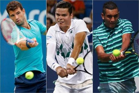 (From left to right) The men: Grigor Dimitrov, 23, of Bulgaria; Milos Raonic, 23, of Canada; and Nick Kyrgios, 19, Australia.
