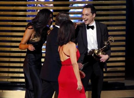 Jim Parsons laughed after accepting the award for outstanding lead actor in a comedy series for his role in